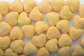 Fondo amarillo corazones — Foto de Stock