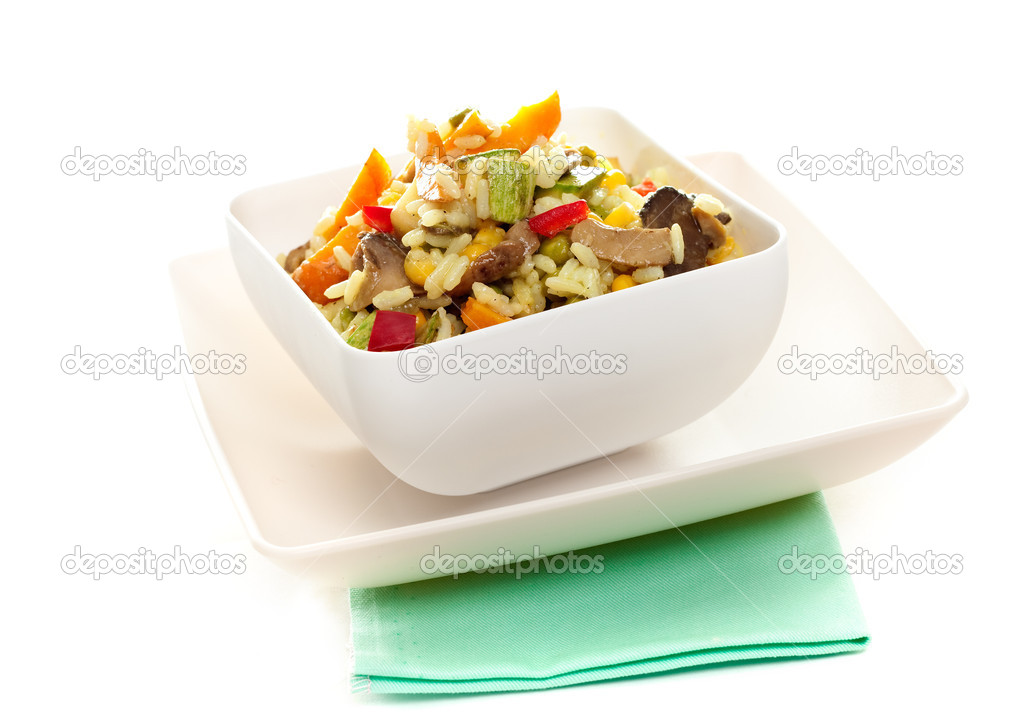 Fresh risotto with mushrooms and vegetables closeup  Stock Photo #2046056