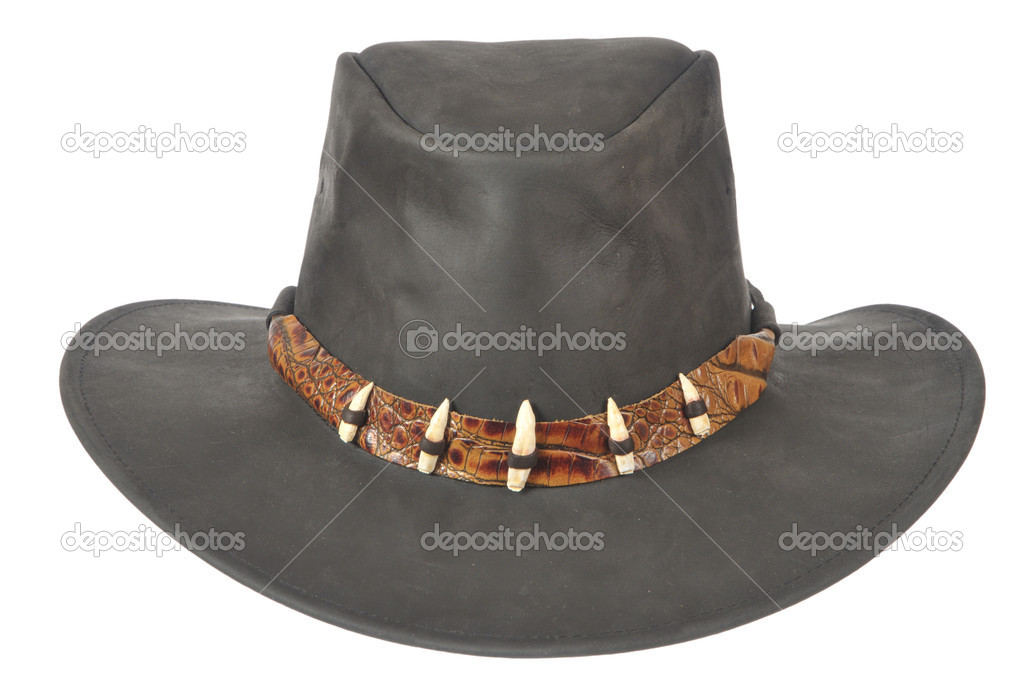 A black cowboy hat in front on white background.  Stock Photo #2626238
