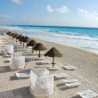 The beach by the Carribean sea in Cancun - Stock Photo