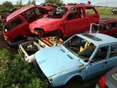 Car cementary with many broken cars — Stock Photo