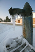 Frozen old water pump in Czech village — Stock Photo