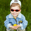 The boy-dandelion — Stock Photo