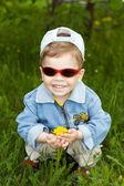 The boy-dandelion — Stock Photo