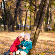 Children throw autumn leaves 6 — Stock Photo