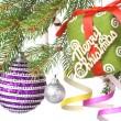 Christmas balls, gift and decoration — Stock Photo