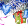 Christmas balls, gift and decoration — Stock Photo