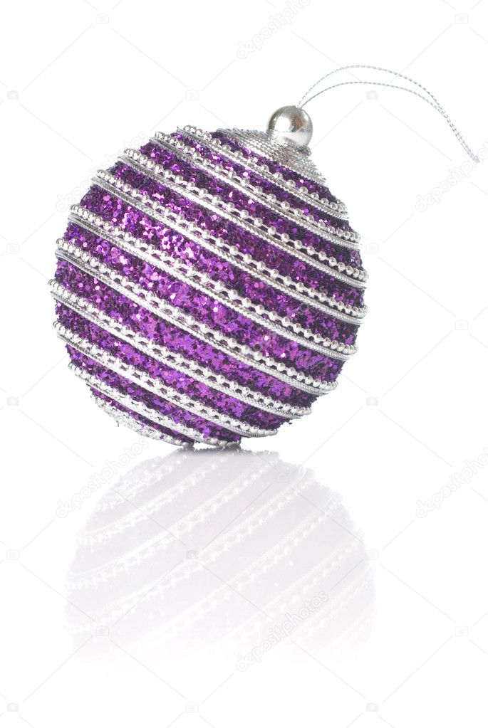 Pink christmas ball isolated on white  Stock Photo #1340525