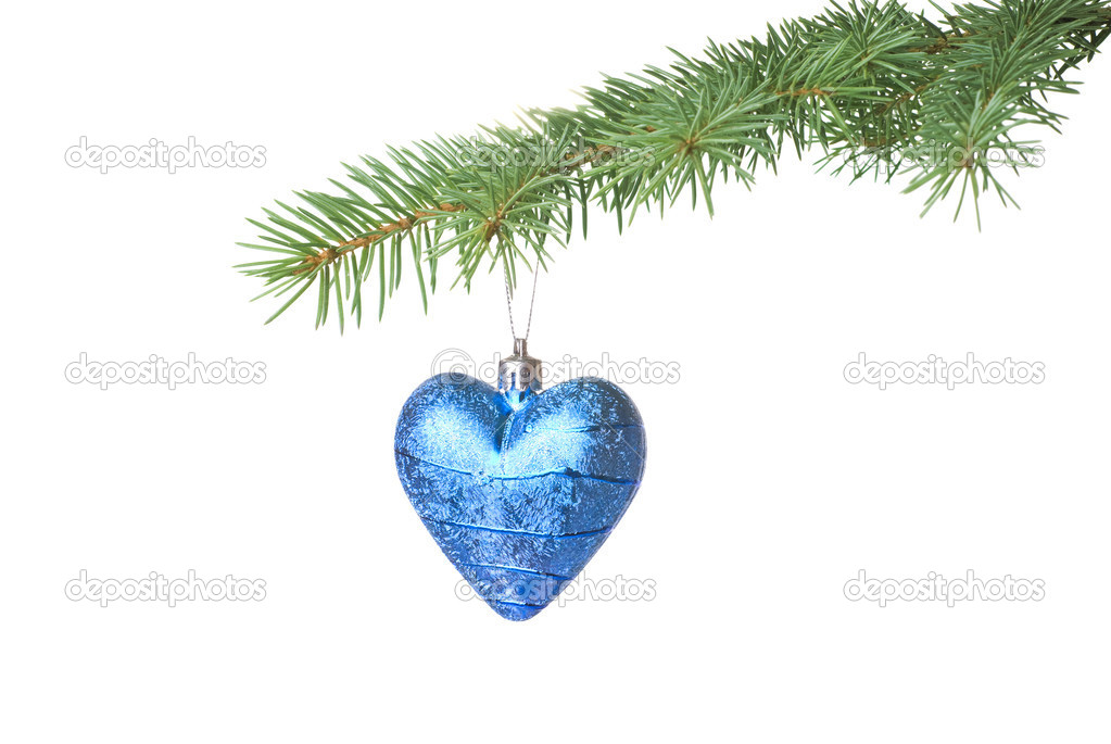 Christmas ball on fir tree branch isolated on white — Stock Photo #1340612