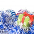 Christmas balls with decoration — Stock Photo #1360001