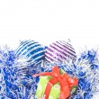 Christmas balls with decoration - Stockfoto