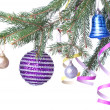 Christmas decoration on fir tree — Stock fotografie
