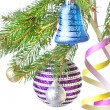 Christmas decoration on fir tree — Foto de Stock