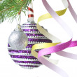 Foto Stock: Christmas decoration on fir tree