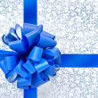 Blue bow from ribbon — Stock fotografie