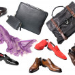 Set of male shoes, accessories and bags - Stock Photo