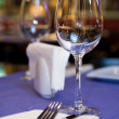 Wineglass on served table in restaurant — Stock Photo