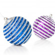 Pink and blue christmas balls — Stock Photo