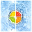 Royalty-Free Stock Photo: Mix of citrus dropped into water