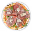 Stock Photo: Italian pizza with ham and cheese