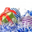 Christmas balls with and gift — Stock Photo