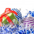 Christmas balls with and gift — Stock Photo #1366572