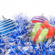 Christmas balls with and gift — Stok fotoğraf