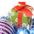 Christmas balls with and gift — Stock Photo #1366888