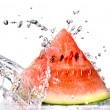 Watermelon and water splash - Stock Photo