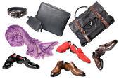 Aantal mannelijke schoenen, accessoires en tassen — Stockfoto