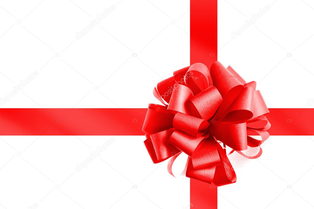 Red bow and ribbon isolated on white — Stock Photo #1361816