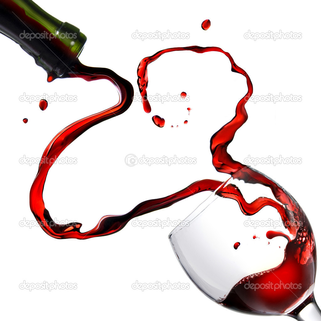 Heart from pouring red wine in goblet isolated on white — Stock Photo #1363739