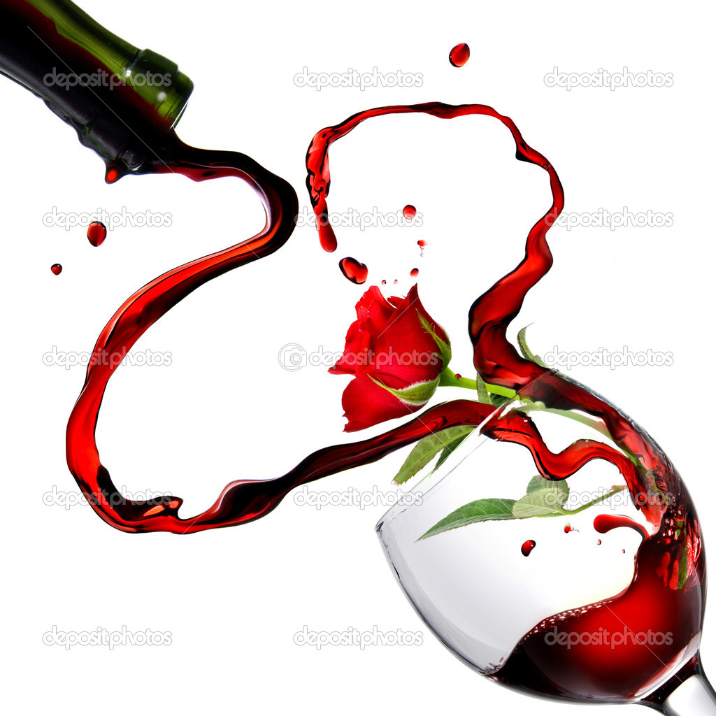 Heart from pouring red wine in goblet with red rose isolated on white — Photo #1364651