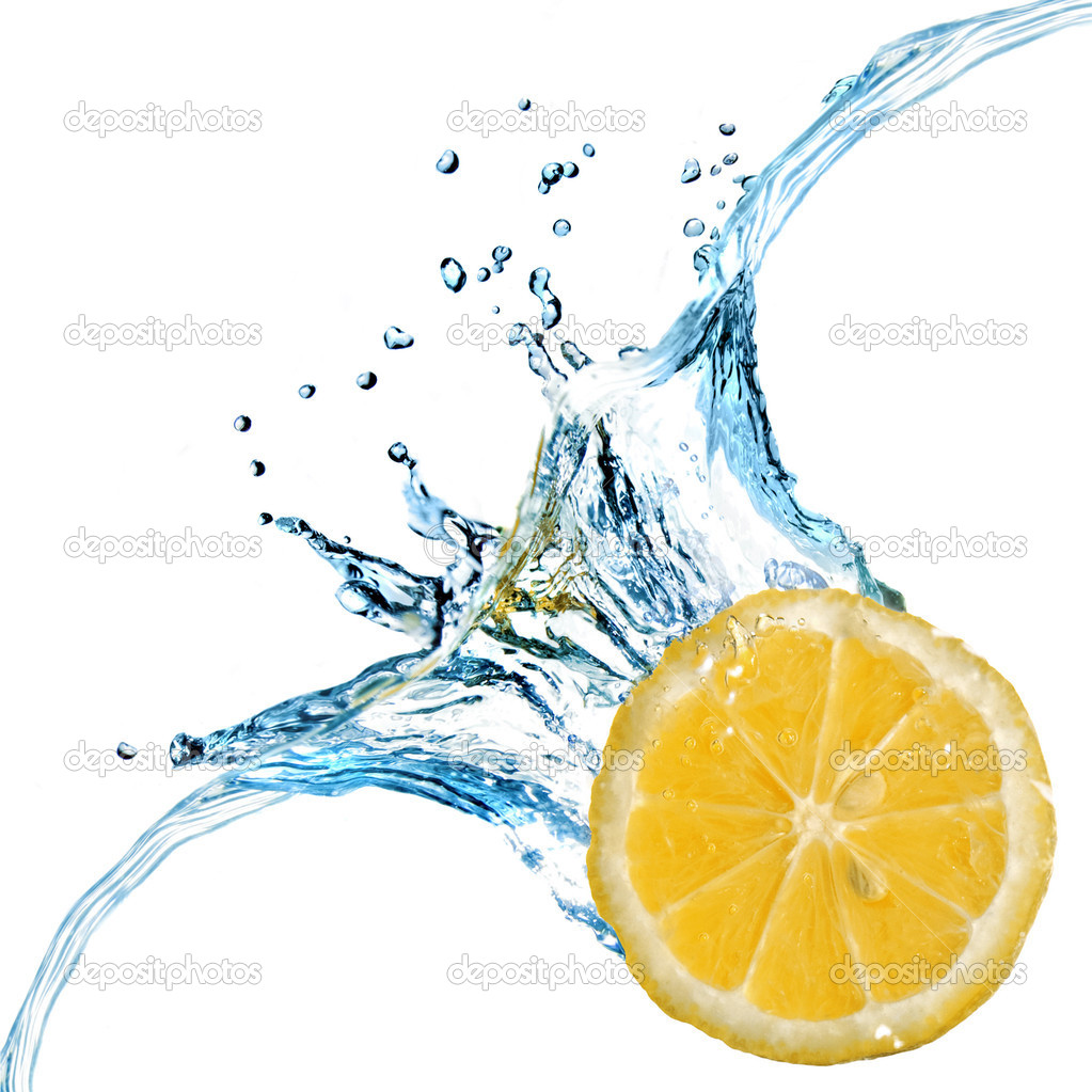 Fresh lemon dropped into water with bubbles isolated on white — Stock Photo #1364817