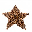 Star from coffee beans — Stock Photo