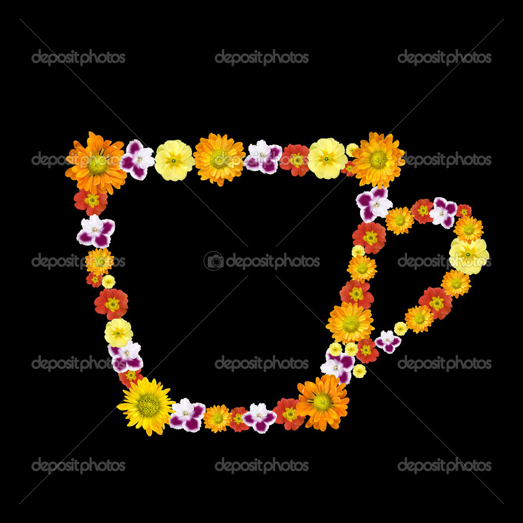 Decorative cup symbol from color flowers  Stock Photo #1370867