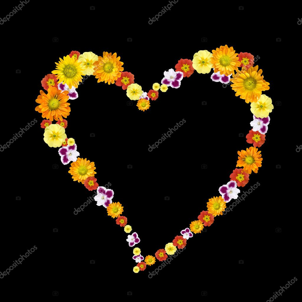 Decorative heart symbol from color flowers — Photo #1370873