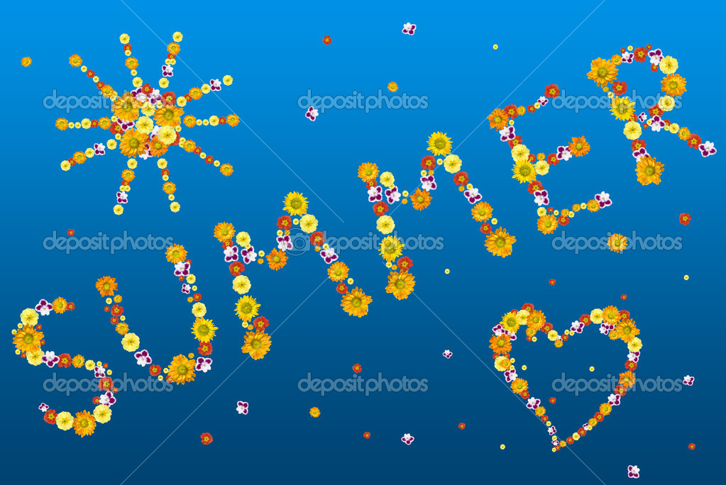 Decorative summer letters and symbols from color flowers — Stok fotoğraf #1370901