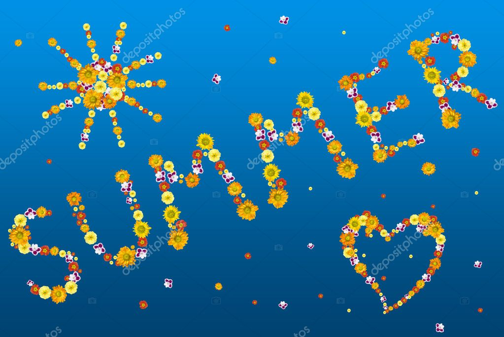 Decorative summer letters and symbols from color flowers — Foto de Stock   #1370901