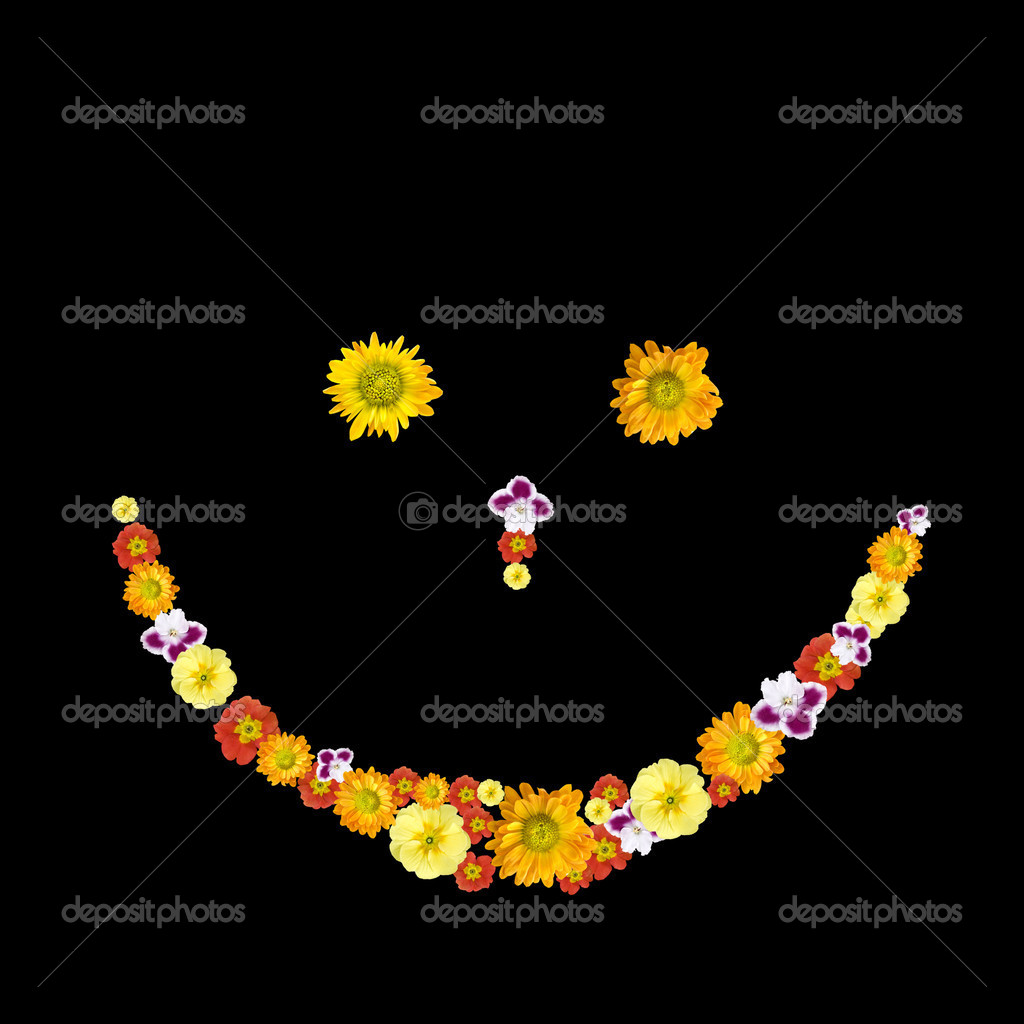Decorative smile symbol from color flowers — Stock Photo #1370914