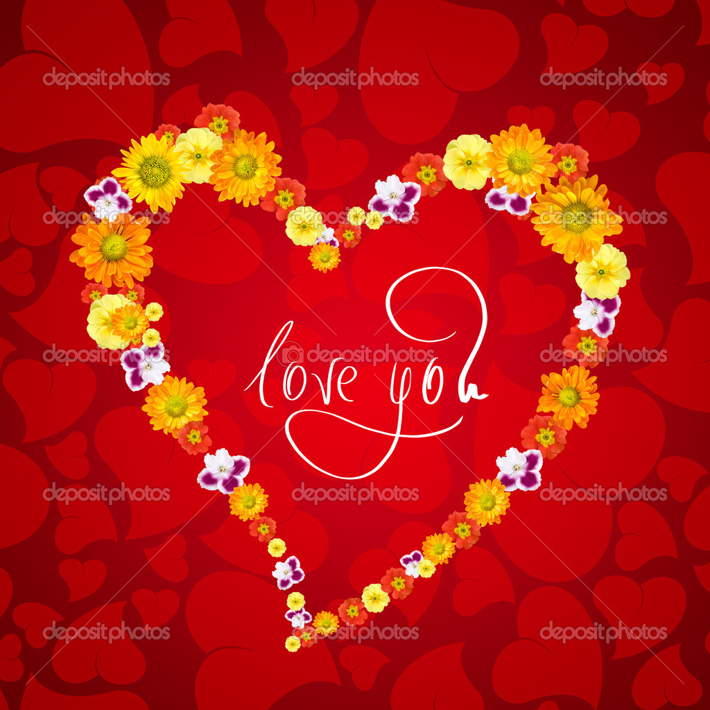 I love you. Card for Valentines day with heart from flowers  Stock Photo #1370937