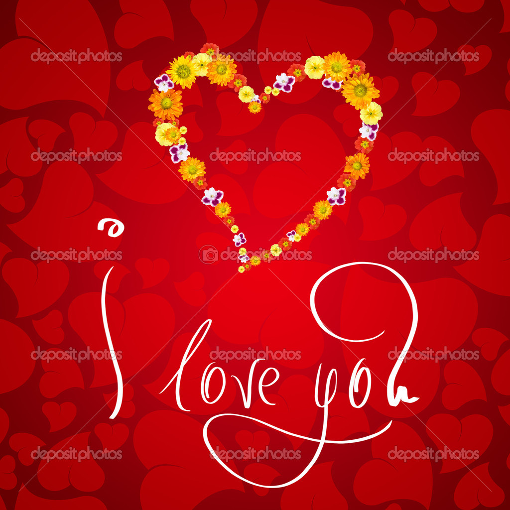 I love you. Card for Valentines day with small heart from flowers — Foto de Stock   #1370941