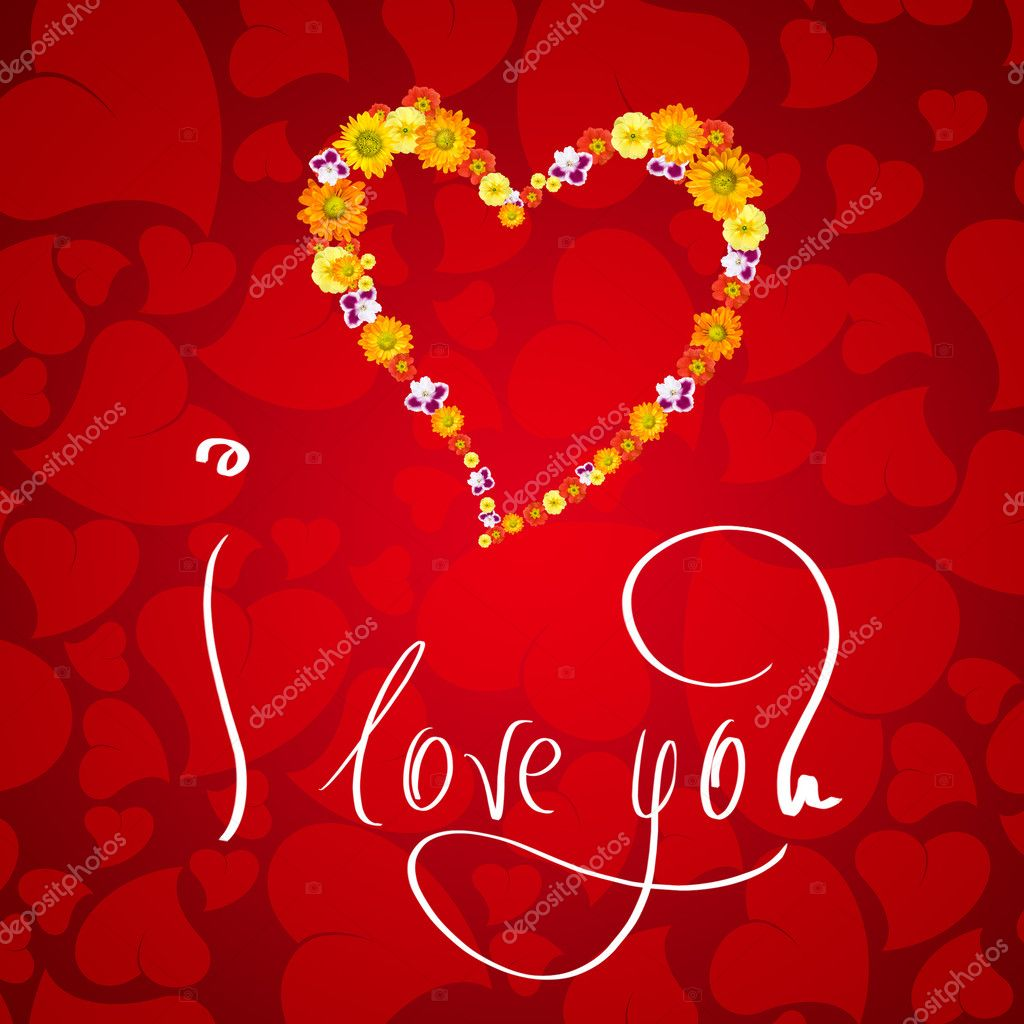 I love you. Card for Valentines day with small heart from flowers — Foto Stock #1370941