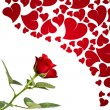 Stock Photo: Red rose and hearts for lovers