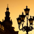 Silhouettes of city lantern — Stock Photo