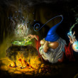 Drawing fairy sly wizard in cave - Stock Photo