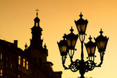 Silhouettes of city lantern — Stock Photo