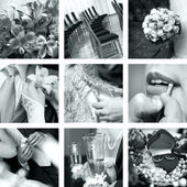 Black and white wedding photos — Стоковое фото