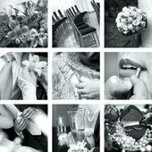černé a bílé svatební fotografie — Stock fotografie