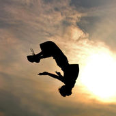 Silhouette of jumping man against sky — Stock Photo